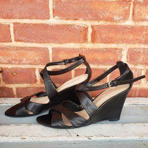 Franco Sarto Black Strappy Wedge Heel Size 6.5